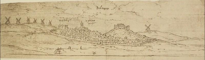 Dibujo antiguo de Belmonte (Cuenca)