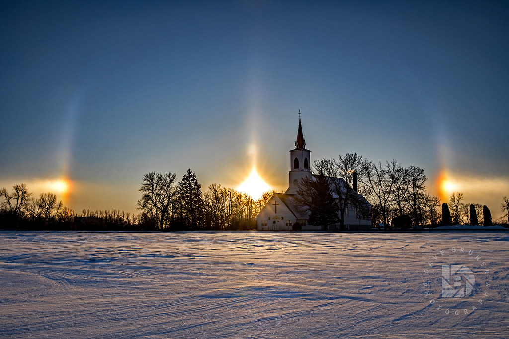Sundogs Frame This Country Church At Sunset 390
