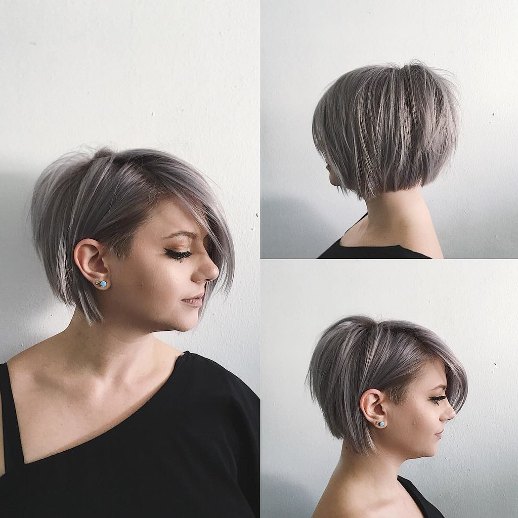 Undone Voluminous Silver Bob With Clean Lines And Side Swe Flickr