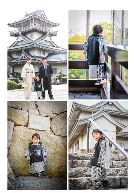 出張カメラマンが撮る七五三写真 岩崎城(愛知県日進市) ママもお着物 自然でおしゃれ