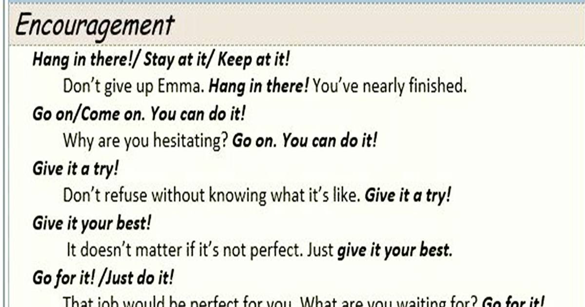Commonly-Used Phrases: Encouragement & Support 5