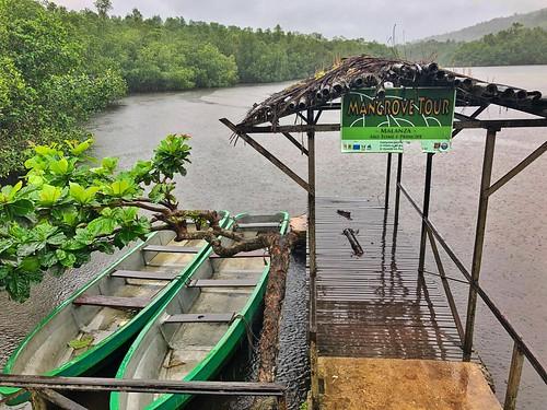 Canoas para hacer los tours por los manglares del río Malanza en Santo Tomé y Príncipe