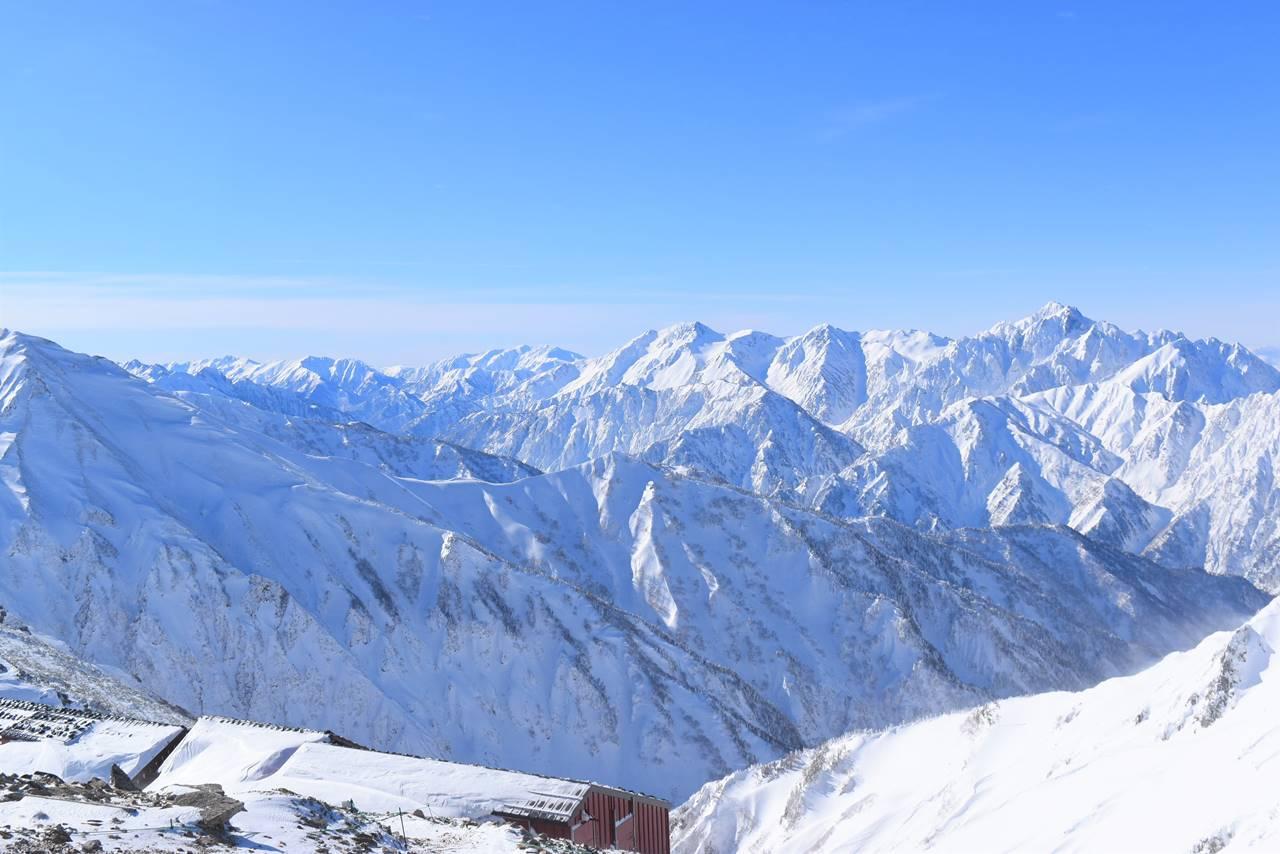 丸山から眺める雪の剱岳~立山連峰