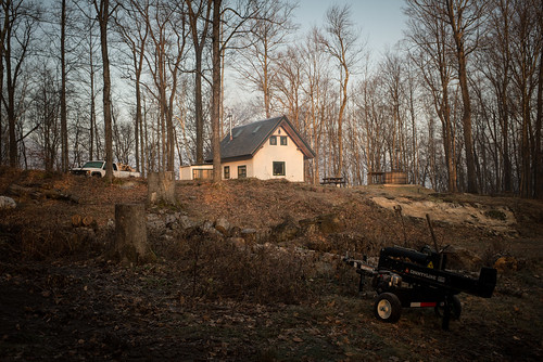 Leafless Wooded Homestead with Wood Splitter, Truck, Cottage, and Hot Tub | by goingslowly