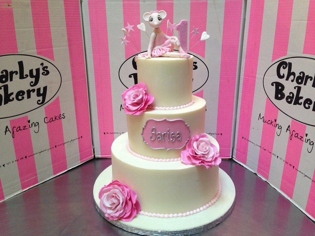 3 Tier Angelina Ballerina Themed 1st Birthday Cake With 3d Flickr