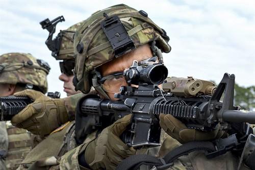 Stack Stare Army Pvt Omar Mazari Center Stands Ready