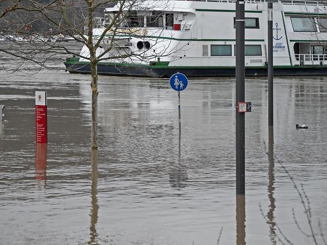Straßenschilder stehen im Wasser