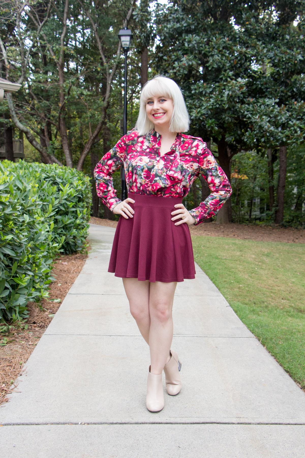 Floral Print Ruffled Blouse, Oxblood Skater Skirt, Nude Steve Madden Ankle Boots