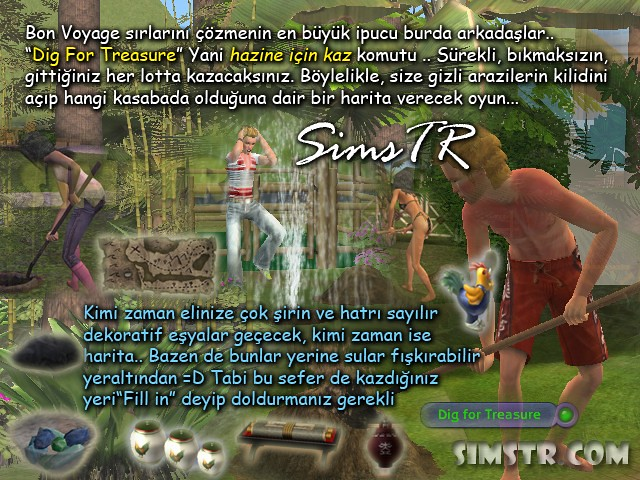 The Sims 2 Bon Voyage Dig for Treasure Kazı Hazine Arama