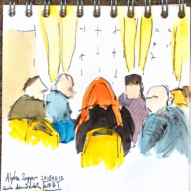 Pen and watercolour sketch of people sitting at a table