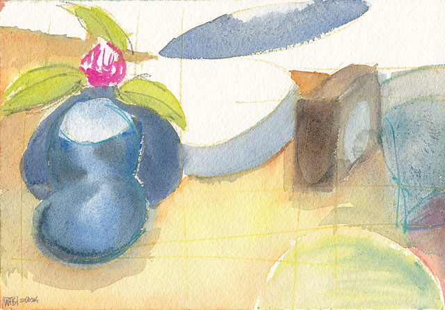 Semi-abstract watercolour of objects on a bedside cabinet
