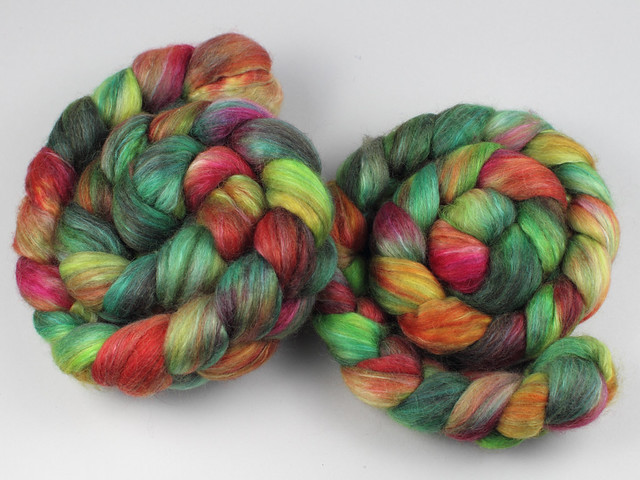Lustre Blend fine British wool, merino, silk combed top/roving hand-dyed spinning fibre 120g 'Rainforest' (green, orange, pink)