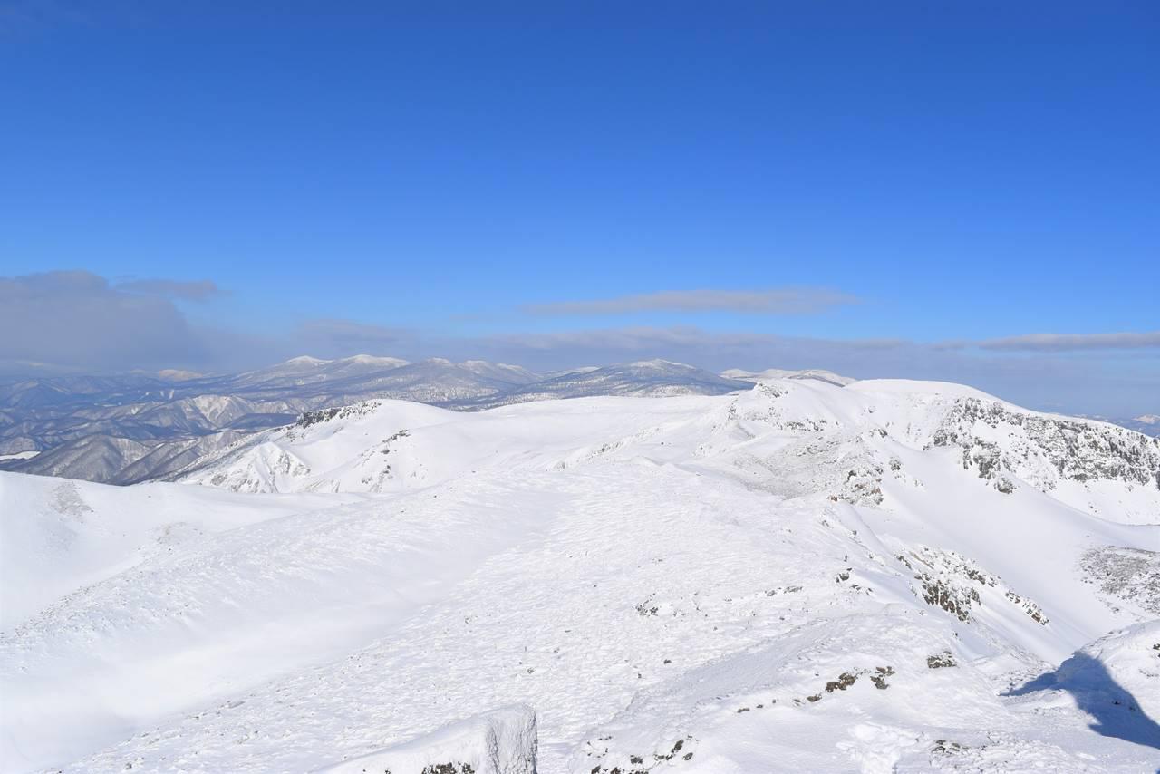 冬の安達太良山 山頂からの展望
