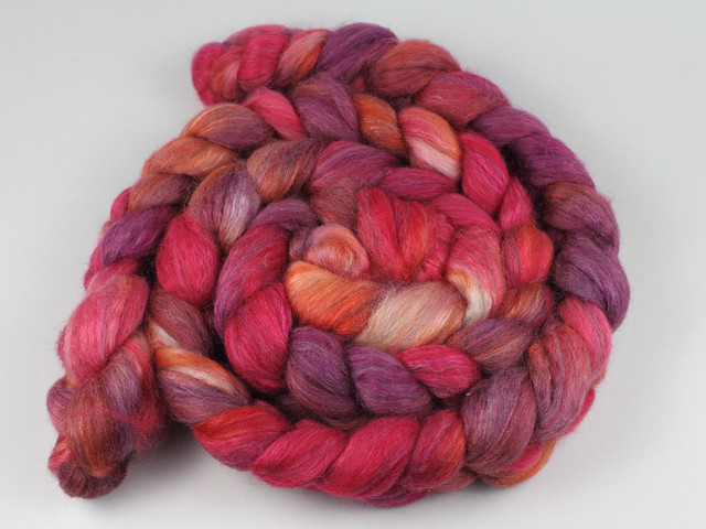 Lustre Blend fine British wool, merino, silk combed top/roving hand-dyed spinning fibre 120g 'Momiji' (reds, purples, oranges)