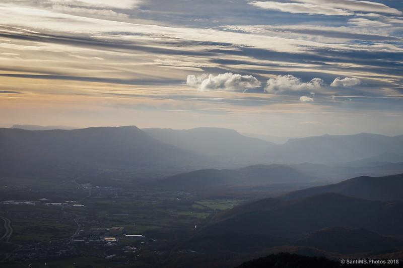 Atardecer en el valle de la Barranca desde cerca de San Miguel de Aralar