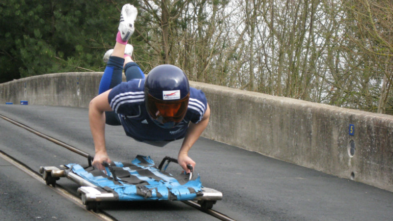 Image of athlete training on the push-start track at the University of Bath.