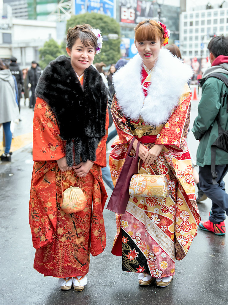 japanese kimono on coming of age day 2018  traditional