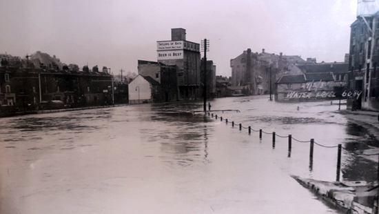 Extensive flooding in Bath in 1968.