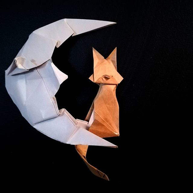 Cat On The Moon Model By Kakami Hitoshi Origami Night Flickr