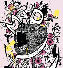 Vector T-shirt Design with Bear and Flowers | by stockgraphicdesigns