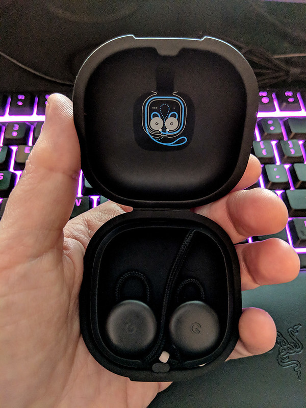 A picture of my Pixel Bud earphones, in their carrying case.