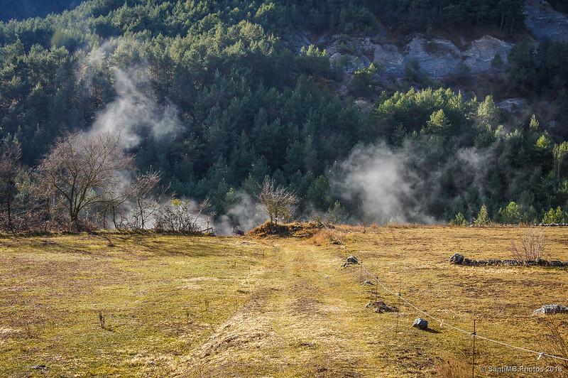 Evaporación de escarcha en el cauce del Bartareny
