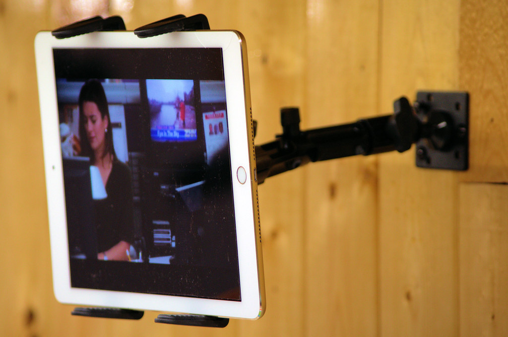 Today's photo: iPad in an adjustable mount on the wall above the quilting frame; February 1, 2018 (Pentax K-3 II)