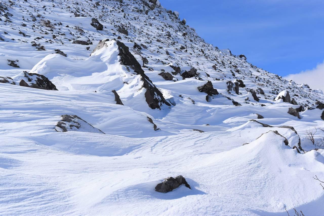 雪に覆われた那須岳のガレ場