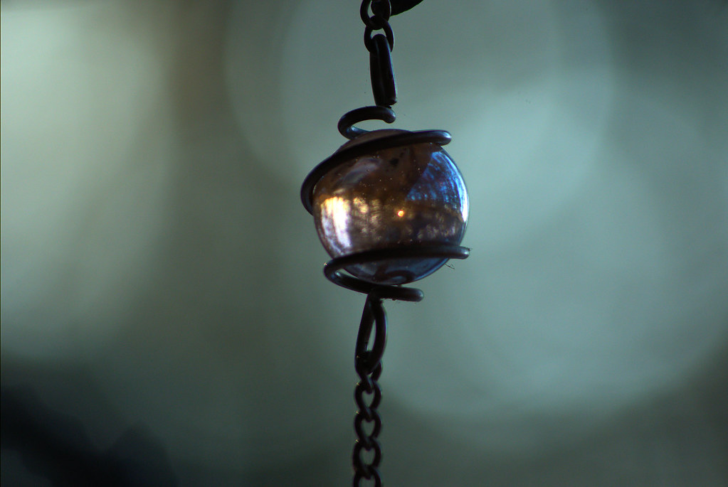 Today's photo: Glass ball in decorative chain catches the sun on a frigid Arkansas morning (Pentax K-3 II)