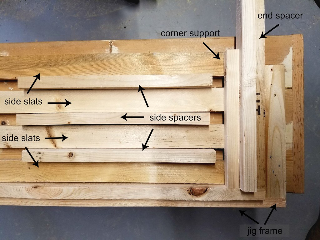 how to build a wooden crate - spacing layout