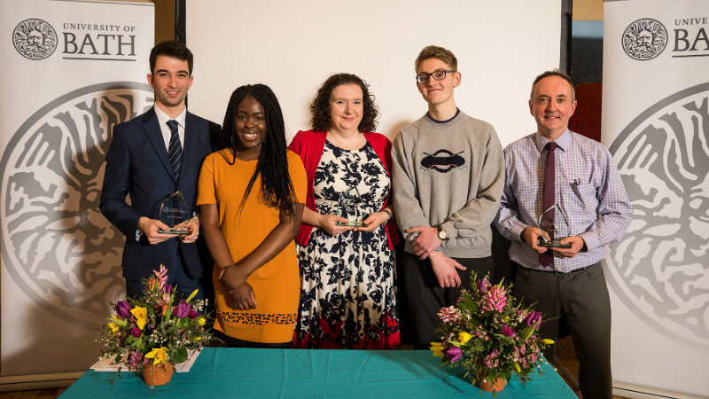 Winners and their student nominators: Oliver Savvides with Sherifat Adeniyi, Liz Wife and Thomas Etheridge, and Christopher Morgan at the Inspirational Teaching Awards 2018.
