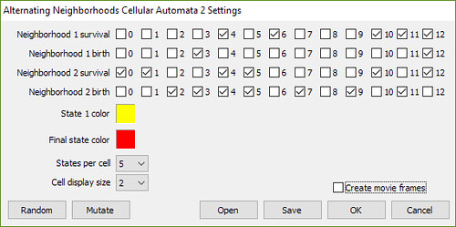 Alternating Neighborhoods Cellular Automaton