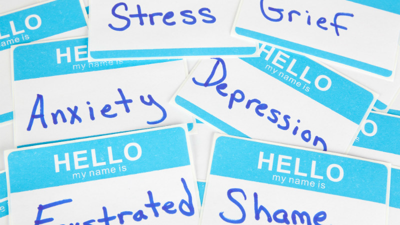 Image depicting different mental health labels: stress, grief, anxiety, depression, frustration, shame.