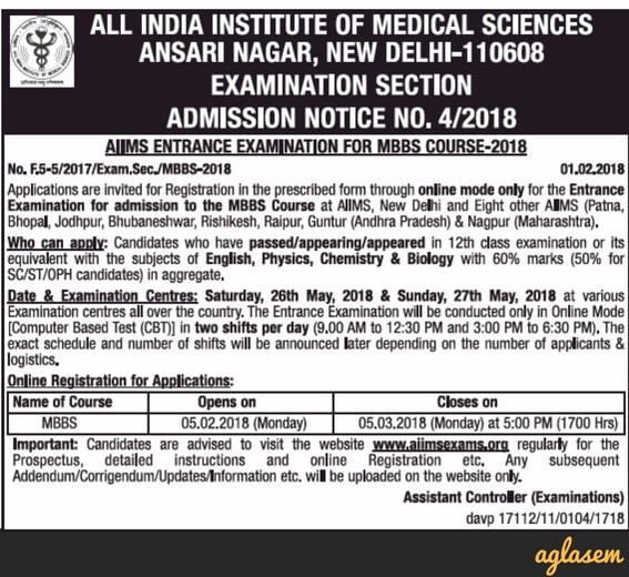 AIIMS MBBS 2018: Result, Merit List, Counselling, Cut Off