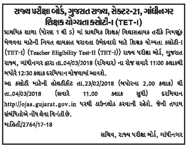 Gujarat TET Admit Card 2017