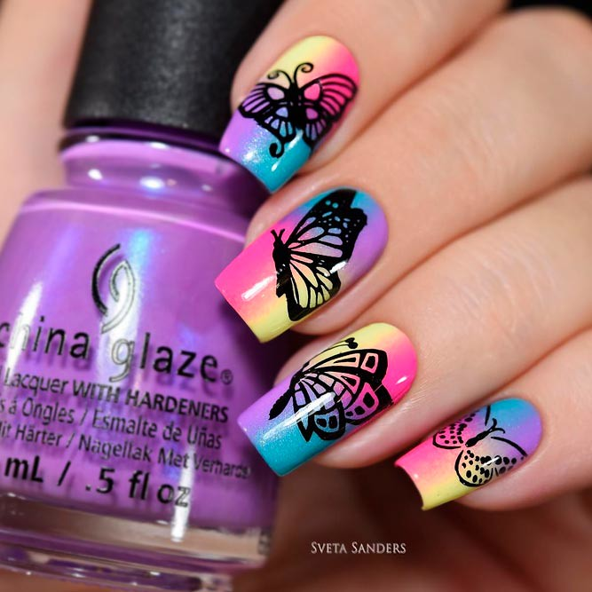 Totally Hip Summer Nail Designs Rainbow Ombre Butterfly Flickr