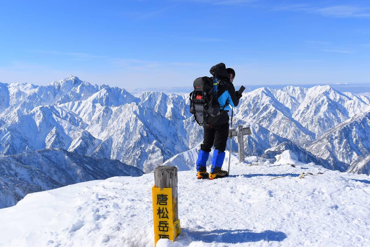 雪の唐松岳山頂