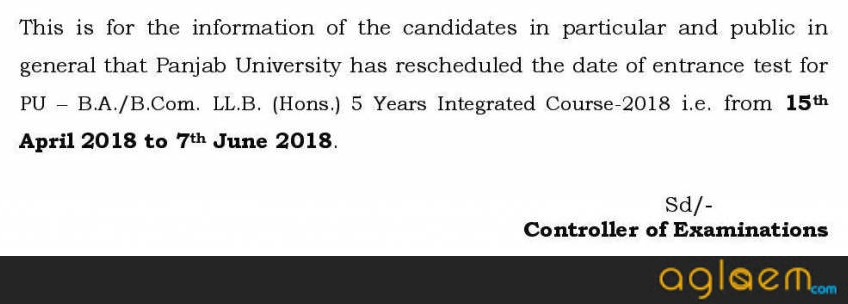 PU Law Entrance Test 2018 for BA / B.Com LLB (Hons)   Exam Date Announced