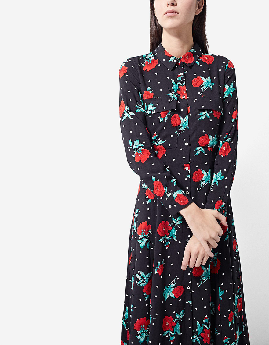 vestido camisero largo de flores Stradivarius