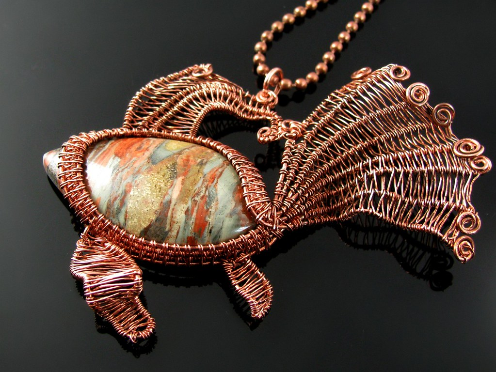 Fantail goldfish | Woven from oxidized copper wire around a … | Flickr