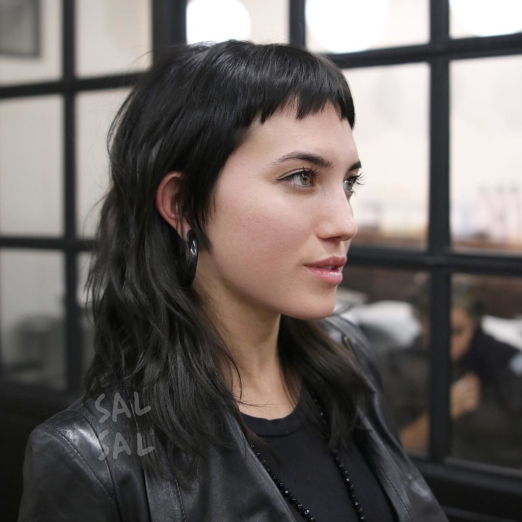 Edgy Modern Textured Mullet with Choppy Micro Bangs and Bl ...