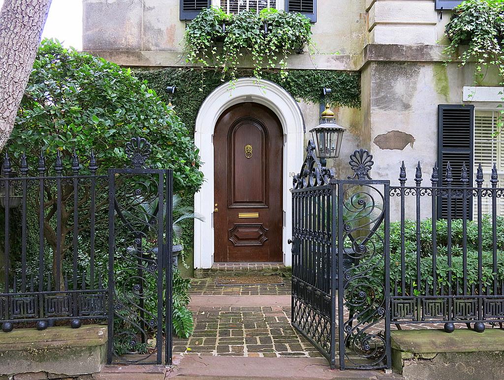 open house door. SC Open Gate And Front Door, 10 Legare Street (1857), Charleston, House Door G