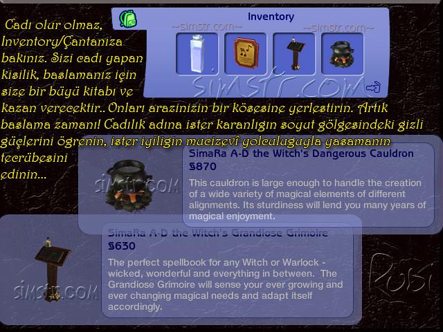 The Sims 2 Apartment Life Apartman Hayatı Witchiness Witch's Cauldron Grimoire Cadılığa ilk adım Büyü Kitabı Cadı Kazanı