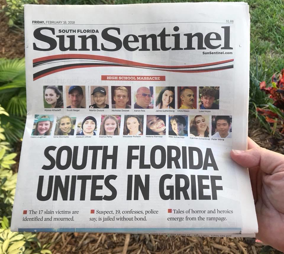 Latest School Shooting Today: Parkland FL. Shooting Newspaper Front Page