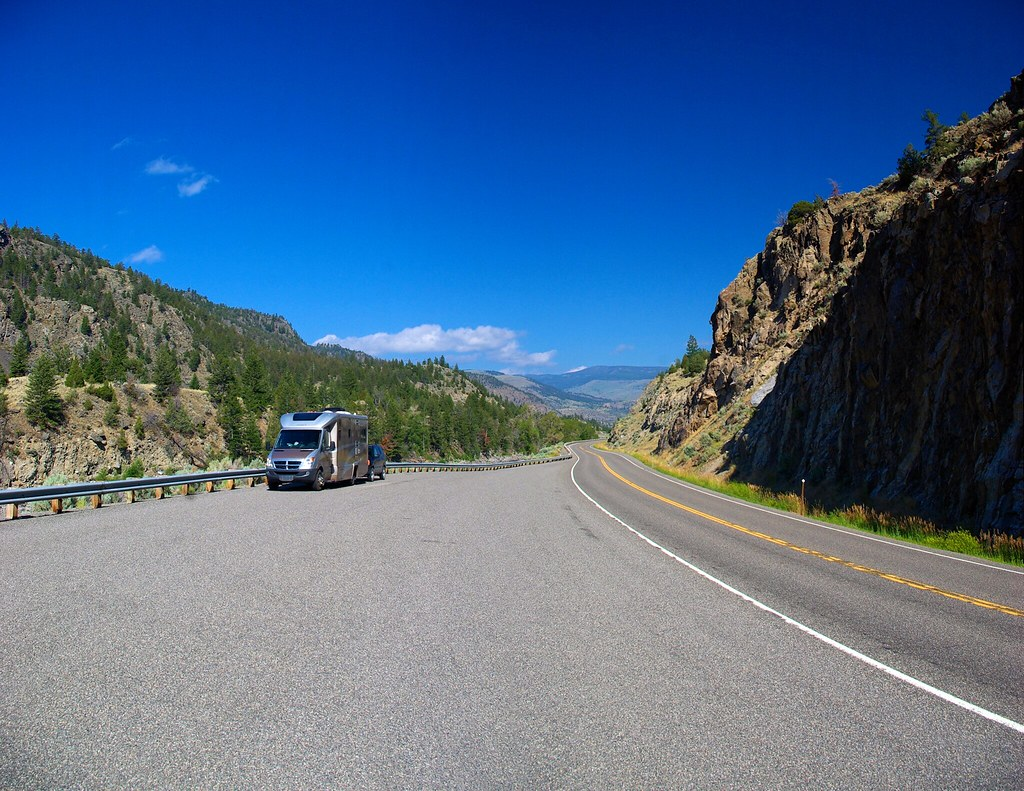 """Photo Favorite: Road side pull-out, US 89 near Emigrant, Montana, August 4, 2010 (Pentax K10D, panorama from four photos using Autostitch) 45°10'18.7""""N 110°52'26.6""""W"""