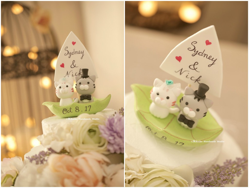 Lovely cat and kitty with a leaf boat Wedding Cake Topper,… | Flickr