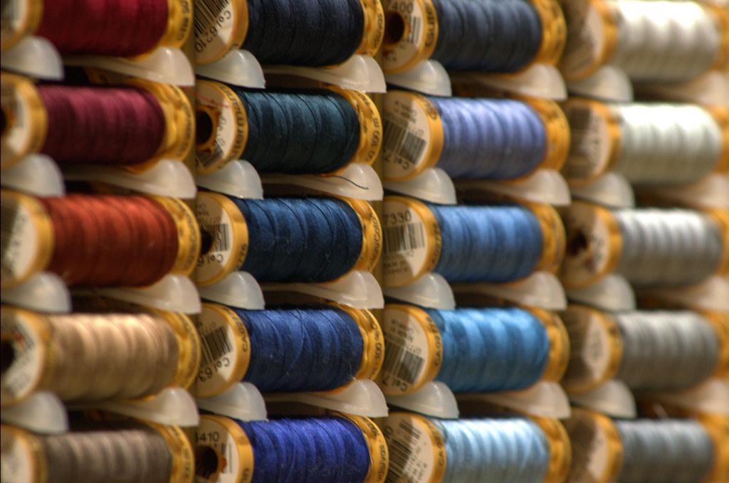 Today's photo: Thread – Spools in a Gütermann thread cabinet. January 23, 2018 (Pentax K-3 II)