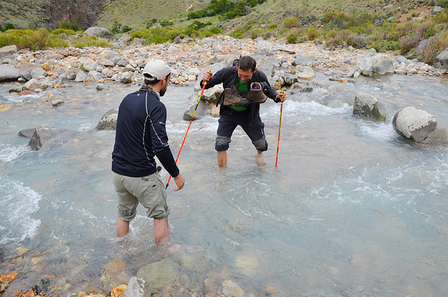 Crossing the icy river, Parque Patagonia, Patagonia, Chile
