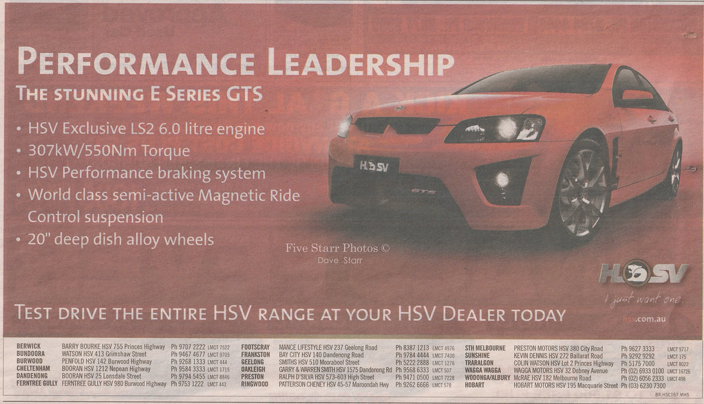 2007 Holden Ve Hsv Gts Newspaper Ad Australia Covers The Flickr