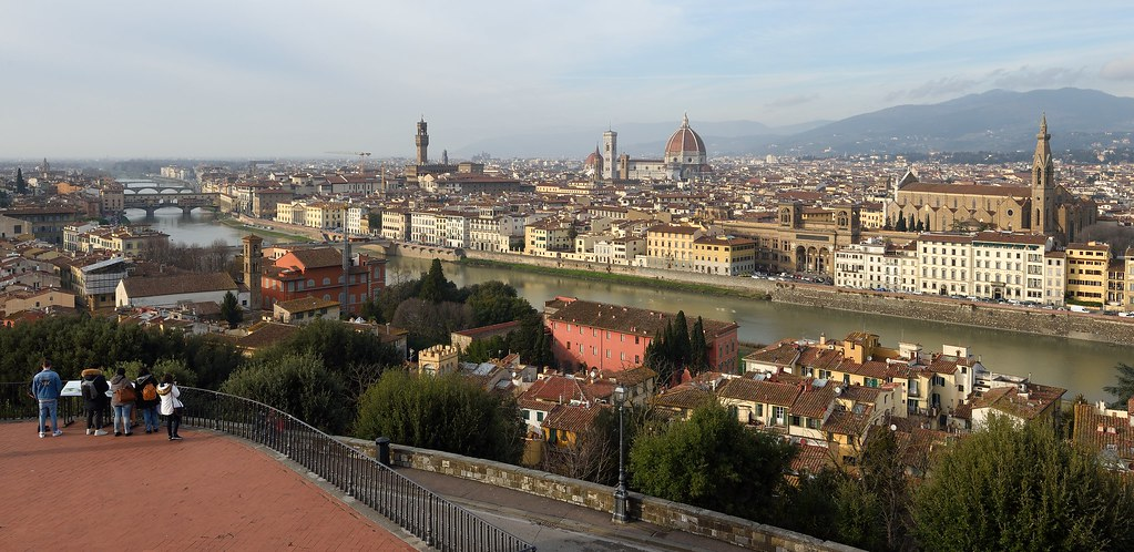 Italian Florence: View From Piazzale Michelangelo In Florence, Italy